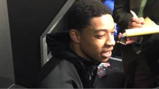 Tyler Ulis talks about the Sweet 16 win over West Virginia and his teammates. Video by Ben Roberts.    Story at http://www.kentucky.com/2015/03/26/3769525/kentucky-basketball-west-virginia.html and http://www.kentucky.com/2015/03/27/3770464/bookers-post-game-tweet-goes-viral.html