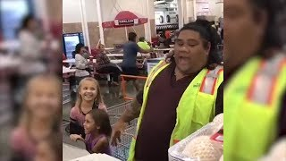 Little Girls Love Visiting Costco Employee Who Looks Just Like Disney Character