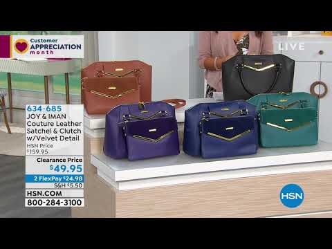 JOY IMAN Couture Leather Satchel Clutch with Velvet     - YouTube