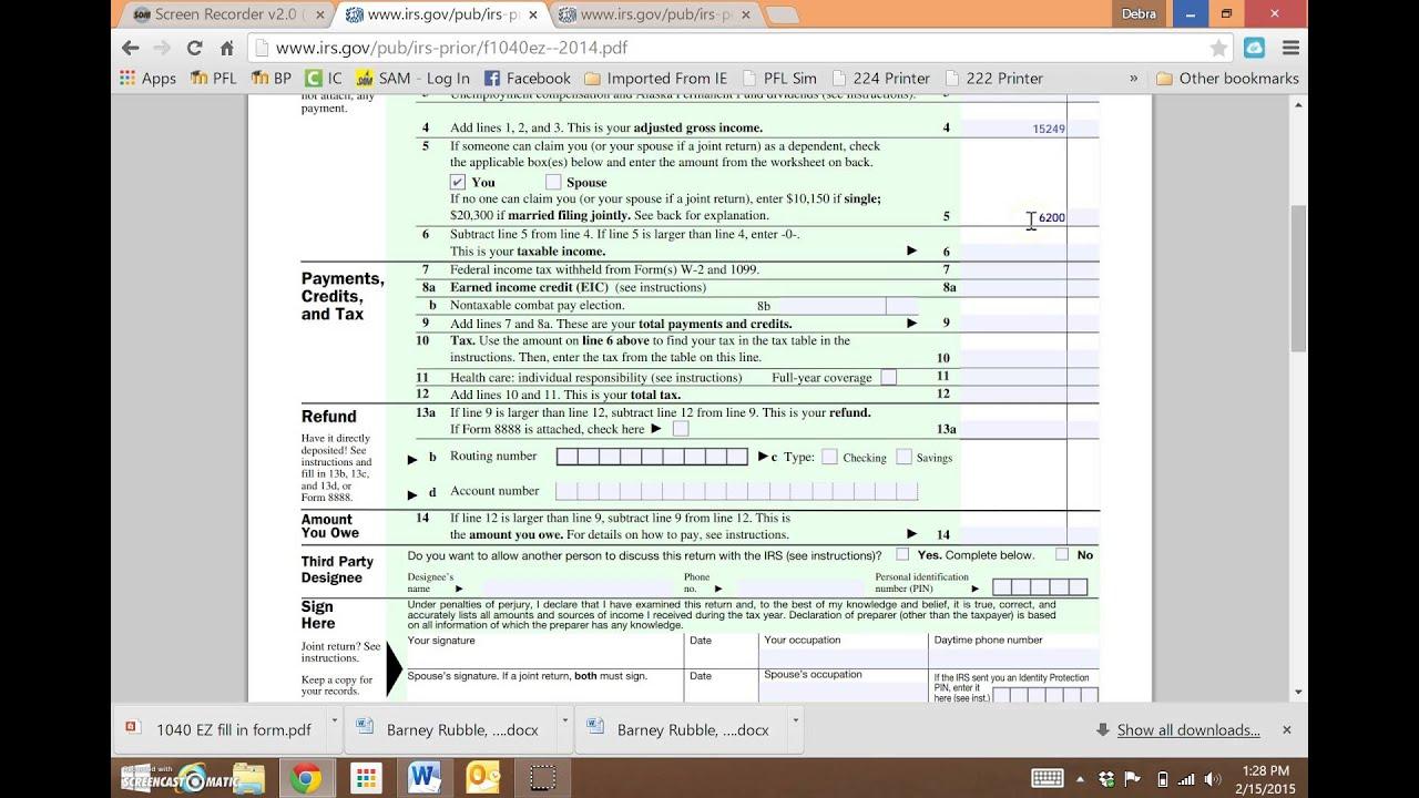 1040 Ez Tax Form Explanation Youtube