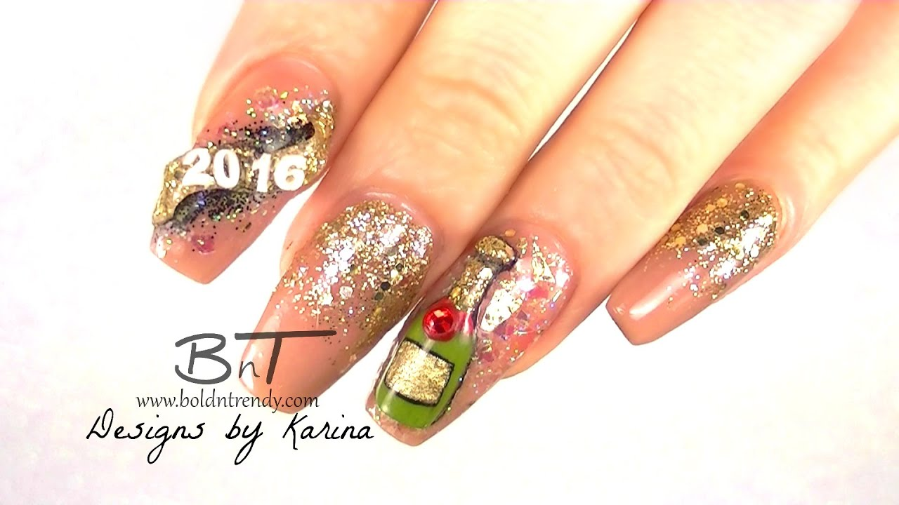 Happy New Year!! Champagne Acrylic nail art -With Glitter Bottom ...