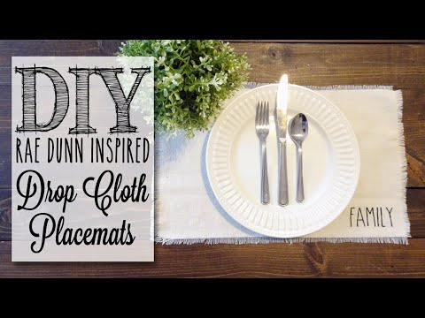 DIY Drop Cloth Placemats | Rae Dunn Inspired