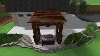 Landscape Design 3D Walkthrough - Raised Patio - Large Timber Pergola - Chunk Rock Planter Bed
