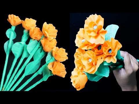 How To Make Shopping Bag Flowers Sticks   Make Easy Beautiful flower using shopping bag    Eti's ETC