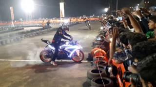 KTM BURNOUT Stunts At Kochi Orange day 2016.Amazing stunts by DFG