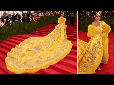 Rihanna's Hilariously Enormous Yellow Gown Steals The Show At 2015 Met Gala