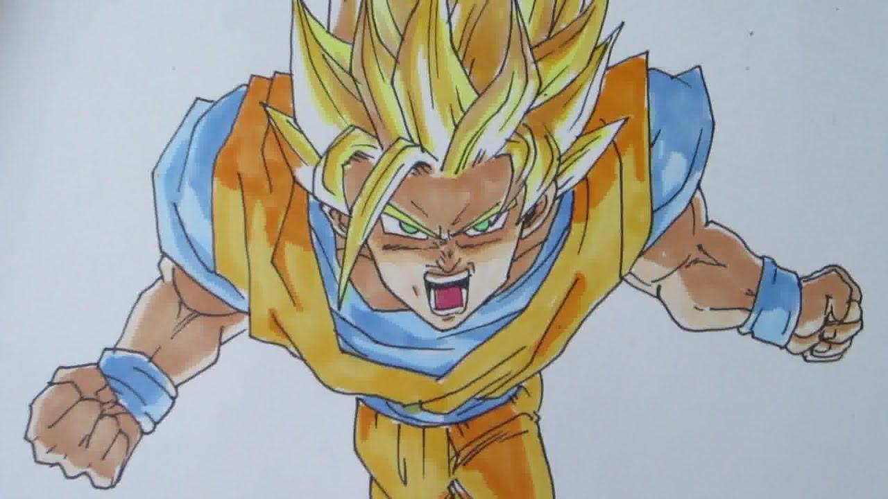 How to draw Goku Super Saiyan 2 SSJ2 孫 悟空 超サイヤ人2 - YouTube