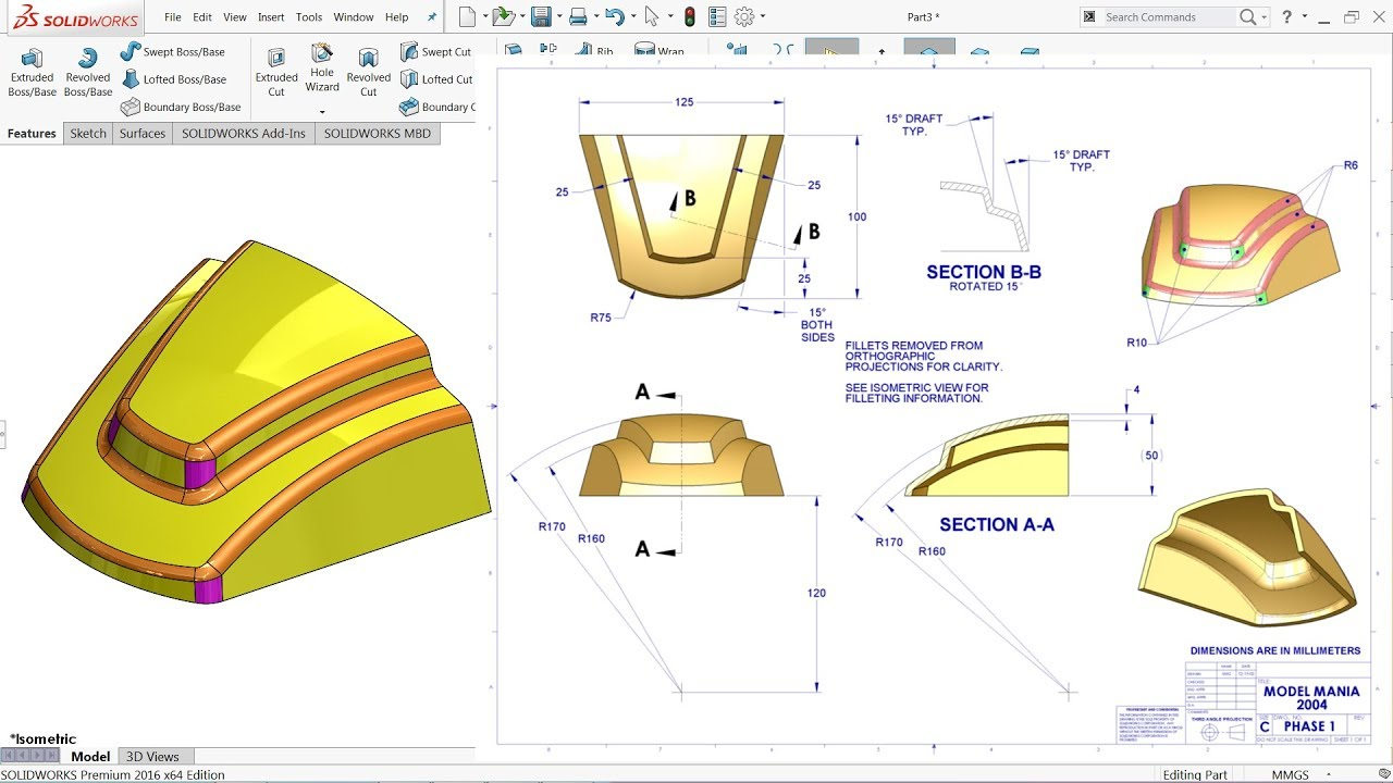 Solidworks Tutorial Model Mania 2004 - YouTube