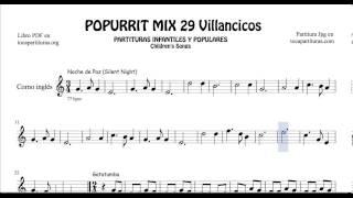 29 Popurrí Mix Villancicos Partituras de Corno Inglés Noche de Paz Gatatumba Los Peces en el Río