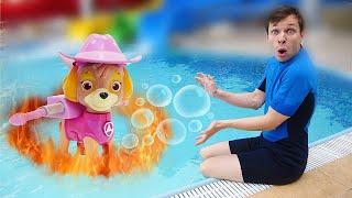 Видео с игрушками - В Аквапарке пожар! - Щенячий Патруль и Трансформеры в шоу для детей Акватим