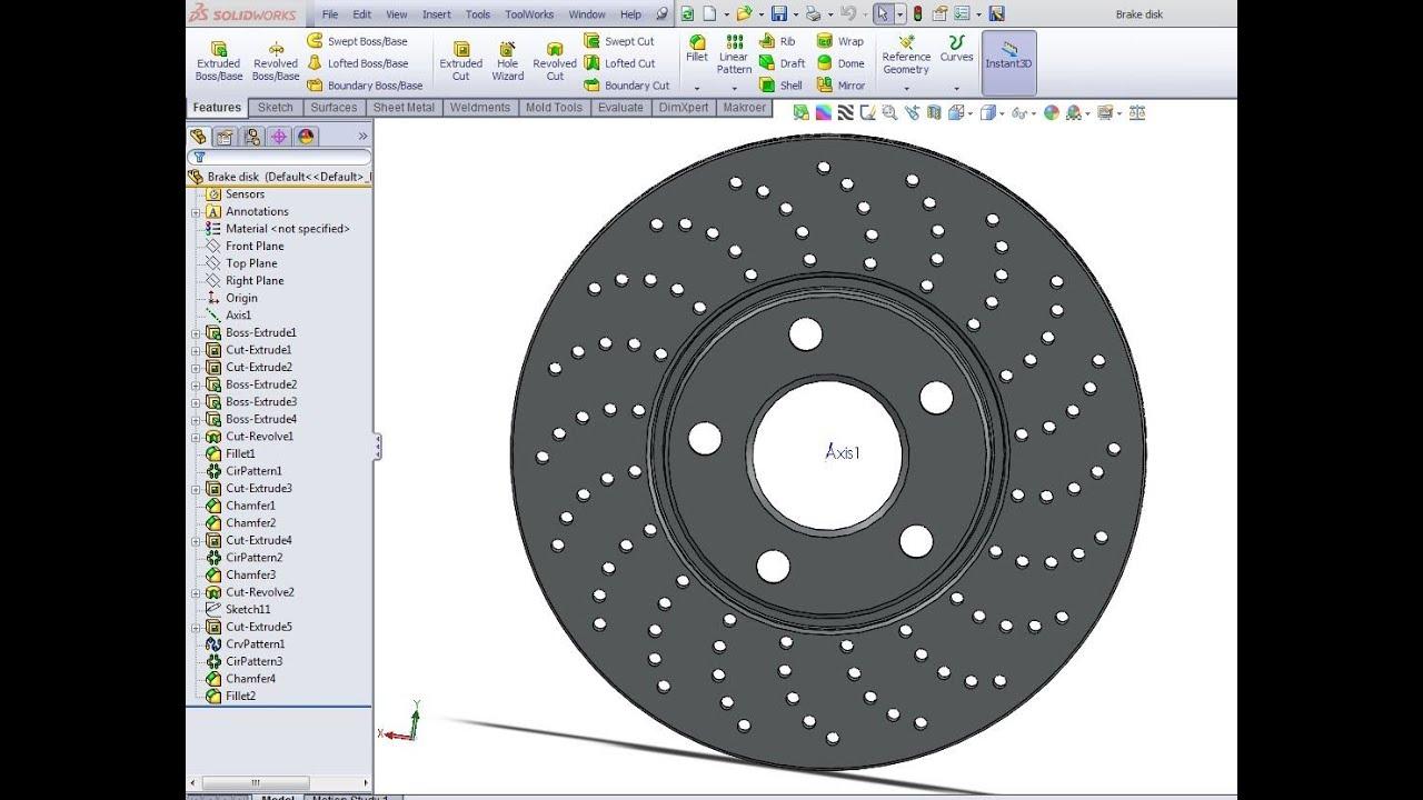 Solidworks Tutorial Brake Disk Youtube