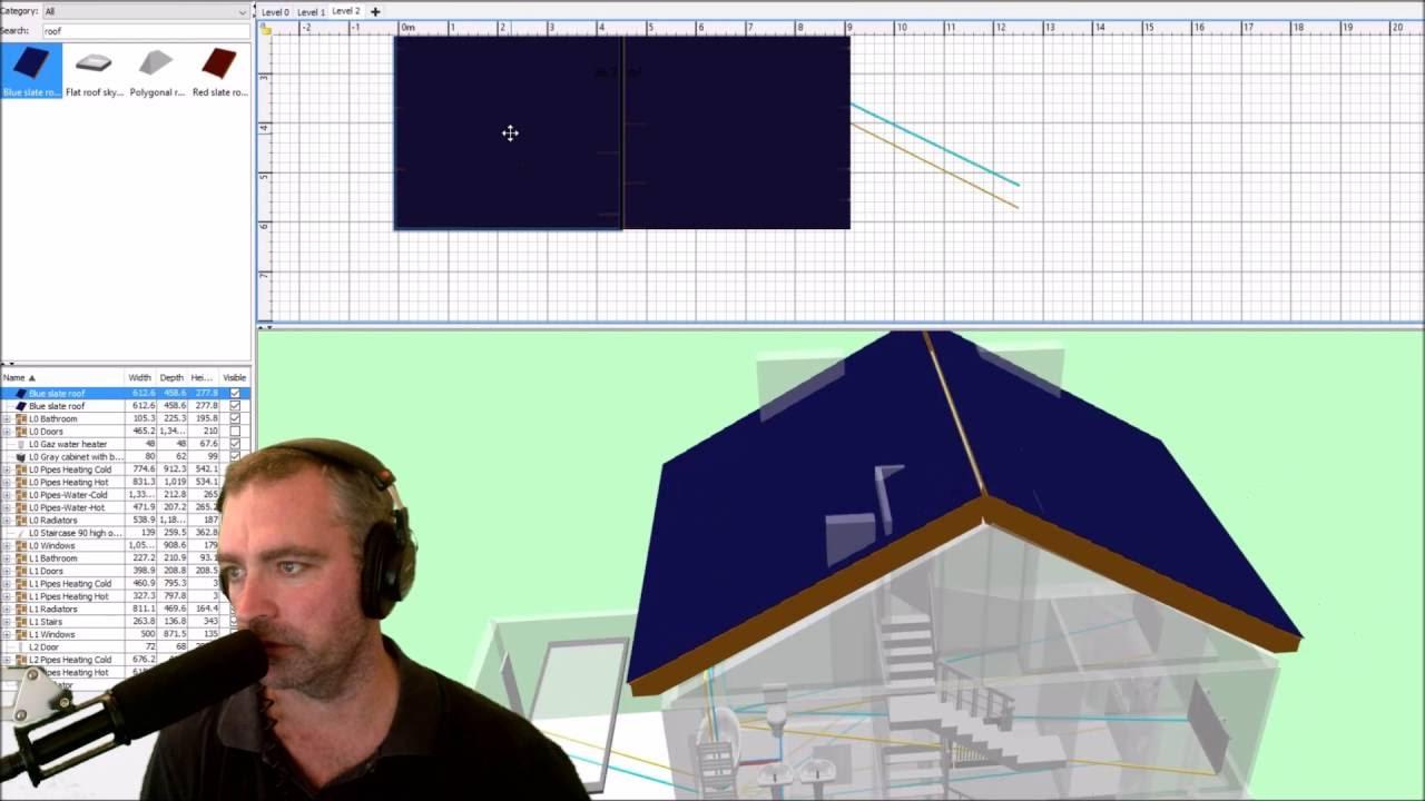 Sweet Home 3D Roof Tutorial Youtube | Sweet Home 3D Custom Stairs | Mural | Mezzanine | Interior Design | Mezzanine Floor | 3D Models