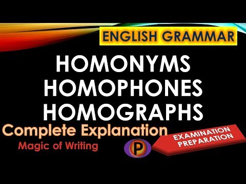 ✔️ Homonyms, Homophones and Homographs in English Grammar Explanation ✅