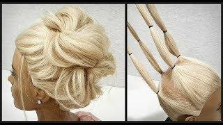 Простой вариант объемного пучка из резинок.Пошагово!Light version of volumetric hairstyle.In detail