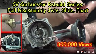 01 'How to' CV Carburetor : Disassembly Recording Jets and Settings Cleaning Carb Rebuild Series