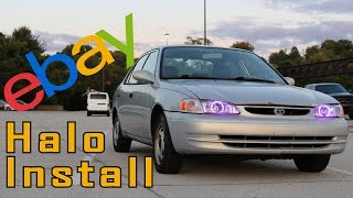 We installed ebay halos on some new headlights for the ricer coroll...
