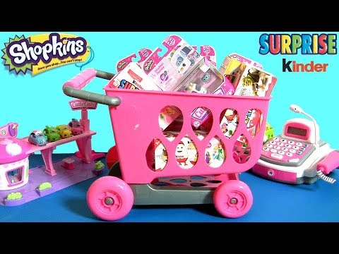 Huge Shopping Cart Full Of Shopkins Cutie Cars Toys Amp Kinder Surprises Mini Shopkin Cars By