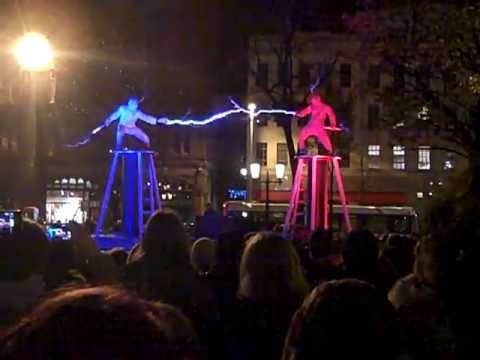 Two men + two Tesla coils + special suits = ELECTRICITY FIGHT!