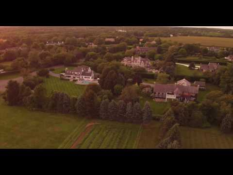 Aerial pass over large estates of Sagaponack, NY.
