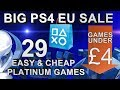 PS4 Playstation Sale (EU) | Games under £4/€5 | 29 Easy & Cheap Platinum Games | Until 28/06/2018