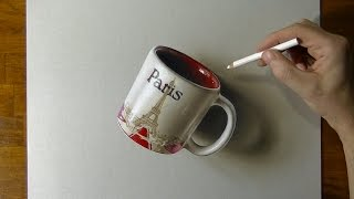 Drawing of a Paris Coffee Mug - How to Draw 3D Art