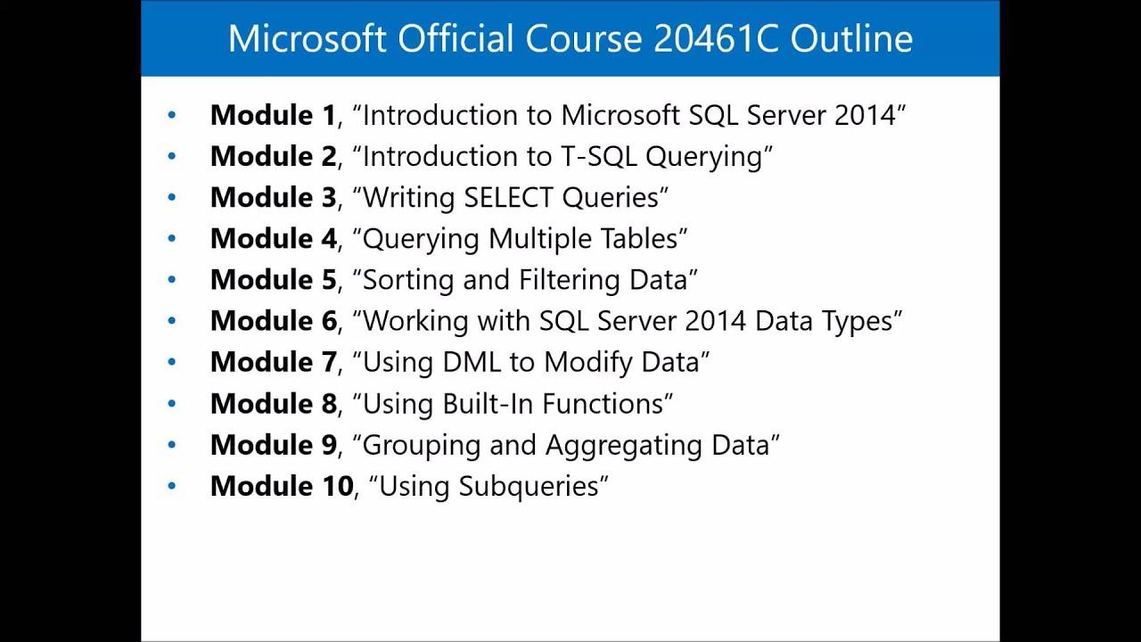 20461c querying microsoft sql server 2014 by shailesh mehta mct 20461c querying microsoft sql server 2014 by shailesh mehta mct regional lead usa xflitez Choice Image