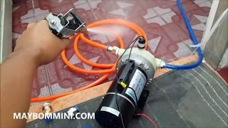 Máy bơm áp lực mini 12V 180W rất mạnh tự hút và tắc tự động