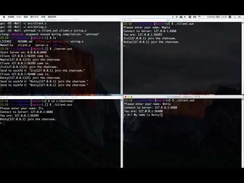 [Demo] Real-time Chatroom In C - TCP Socket Programming