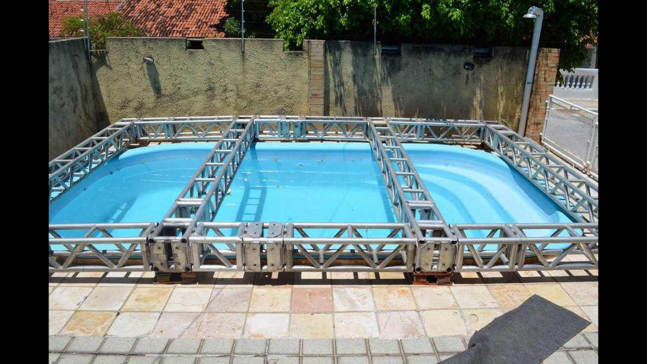 Estrutura de palco cobrindo piscina youtube for Piscinas de aluminio