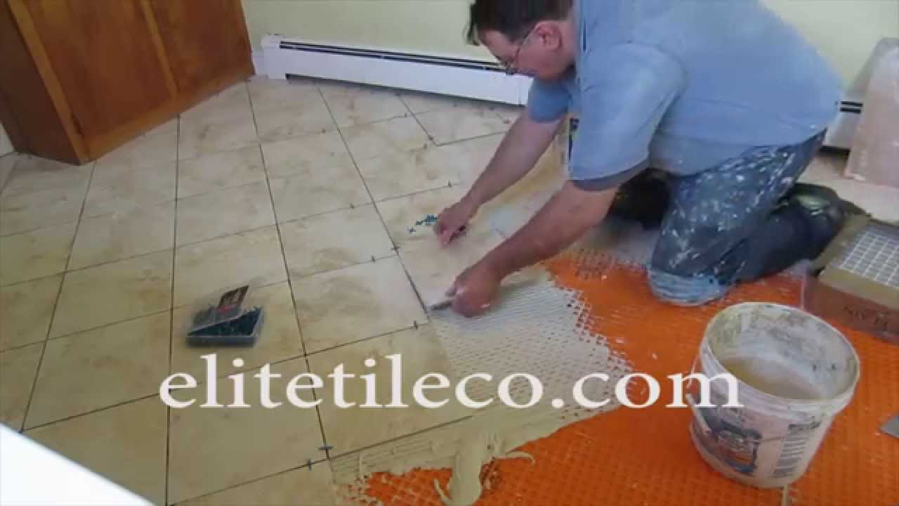 How to lay tiles diagonally - Diagonal Tile Floor Replaced With New Tile On Schluter Ditra Part 4 Installing The Tile