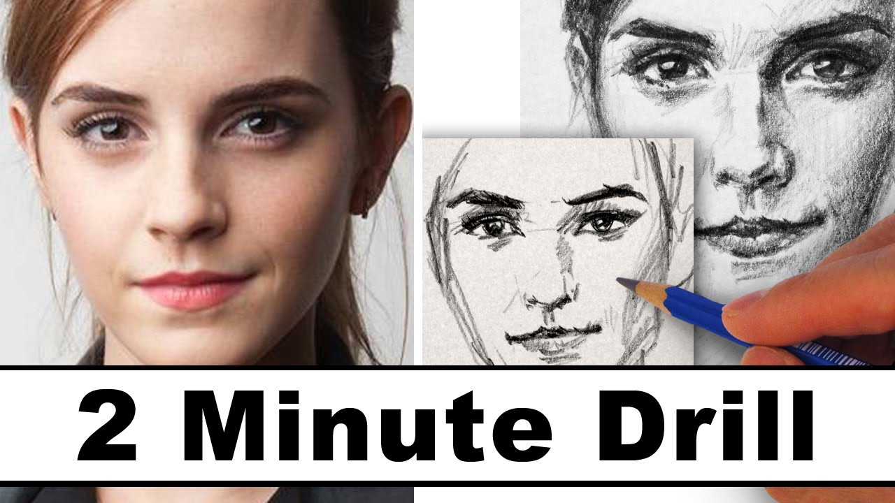 How To Draw Emma Watson In 2 Minutes Youtube