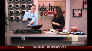 "Josh Lahusky cooking on WZZM-TV ""Take Five Grand Rapids"""