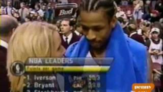 Allen Iverson 40pts 9asts vs Kobe Bryant Shaq O'Neal Lakers 00/01 NBA MVP *2001 NBA Finals preview