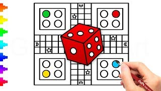 Ludo Board Game Drawing and Coloring | How to Draw a Ludo Game Board