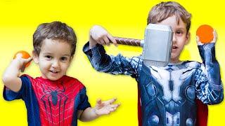 spiderman vs thor in real life superhero galinha pintadinha ball pits spider man toys kids video