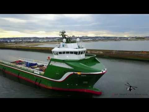 Enea Platform Supply Vessel (PSV) Leaving Aberdeen Harbour (Aerial Video)