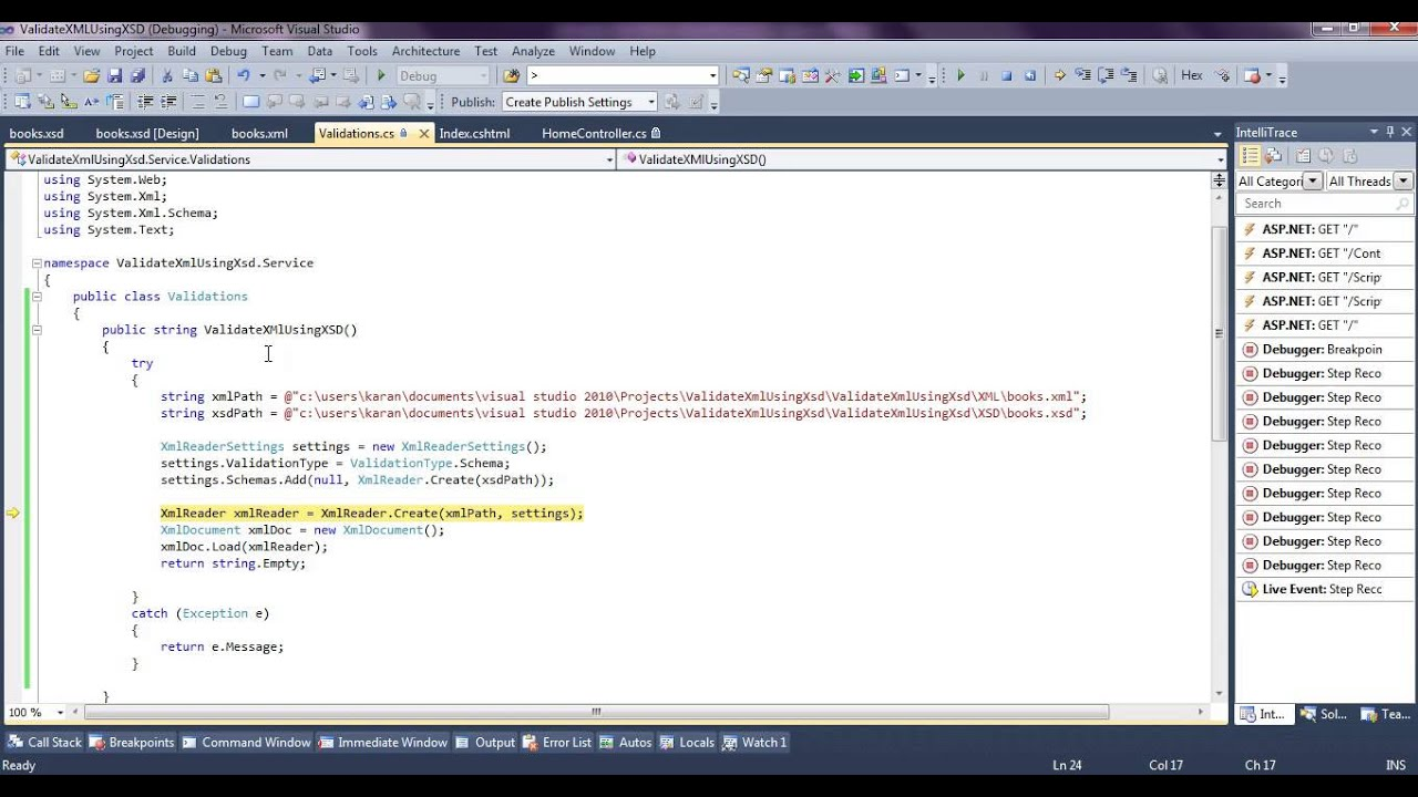 Validating xml using c#