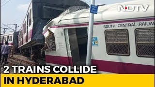 2 Trains Collide At Railway Station In Hyderabad