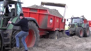 Fendt 930 Vario vast in het zand bij  Pier van Oterdum.