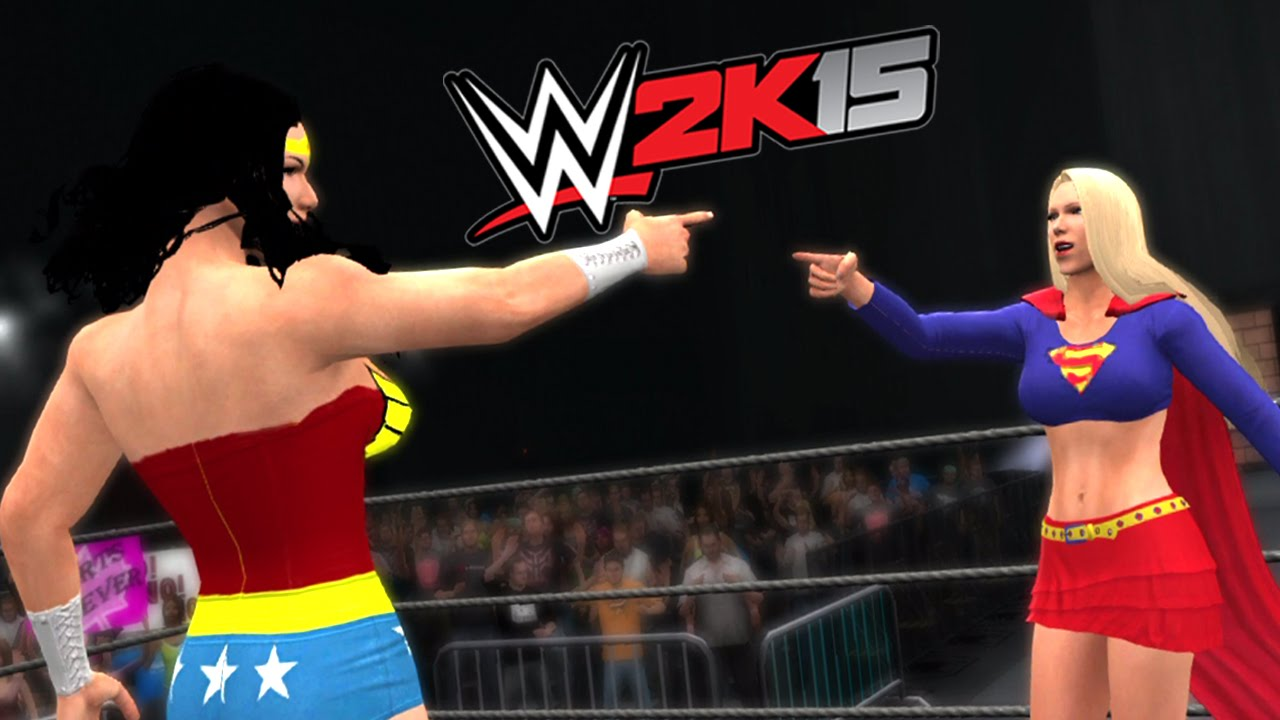 wonder woman vs supergirl epic battle wwe 2k15 youtube