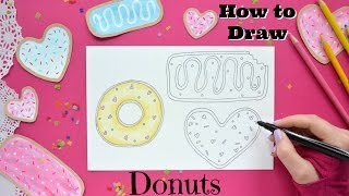 How to Draw Donuts and color - Little Hot Tamale