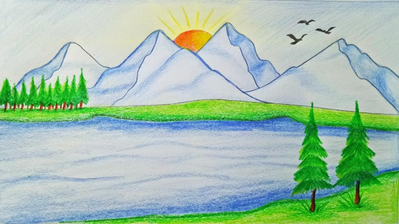How to draw scenery of mountain step by step very easy youtube - Easy ways of adding color to your home without overspending ...
