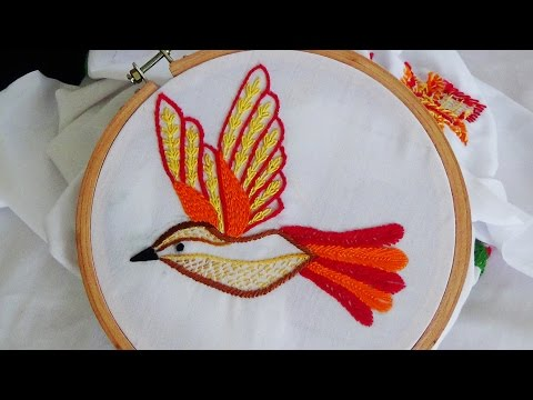 Hand Embroidery: Bird Embroidery (Fly Stitch, Stem Stitch)