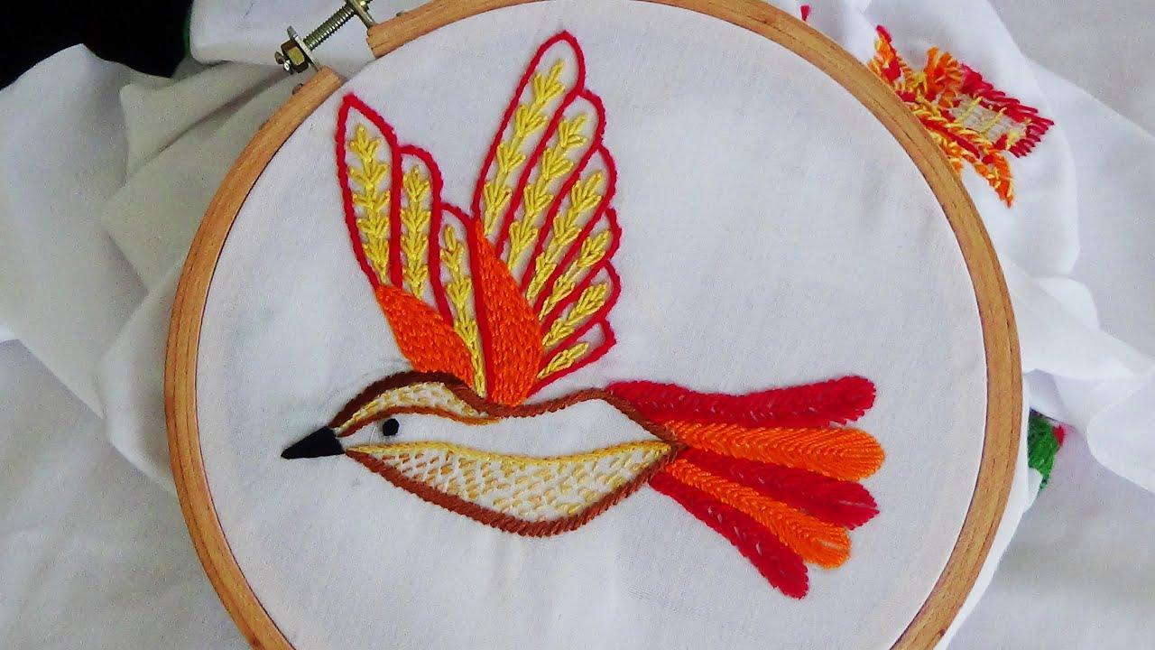 Hand Embroidery Bird Embroidery Fly Stitch Stem Stitch Youtube