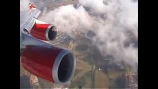 Landing with Boeing 747-400  Virgin(1) in London-Heathrow (with comments and details)