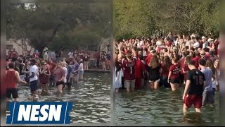 South Carolina Students Celebrate Final Four Berth In Library Fountain