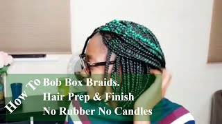 Green and a touch of purple coloured Bob Box Braids 5