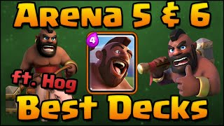 Clash Royale - Best Arena 5 & Arena 6 Decks and Attack Strategy with Hog Rider Card!