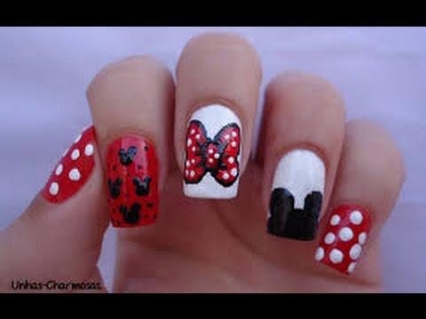Desenhos de unhas minie e mickey