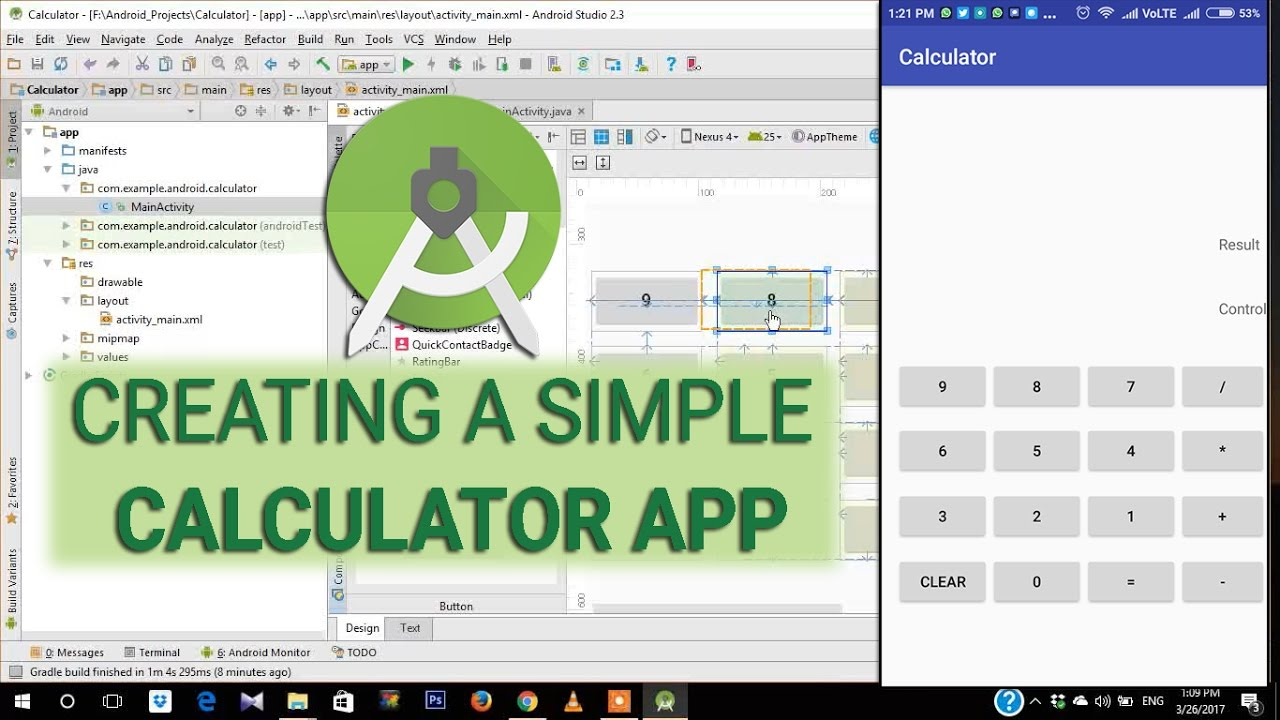Calculator app tutorial e01 creating a simple calculator layout calculator app tutorial e01 creating a simple calculator layout in android studio 23 baditri Image collections